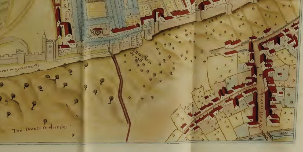 Noden's map showing breach of Windsor Castle's wall